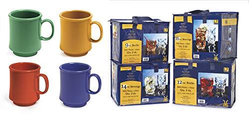 G.E.T. Enterprises SP-TM-1308-MIX Mix Pack of 4 Mardi Gras Colors 8 oz. Mug, Tritan (Pack of 12)