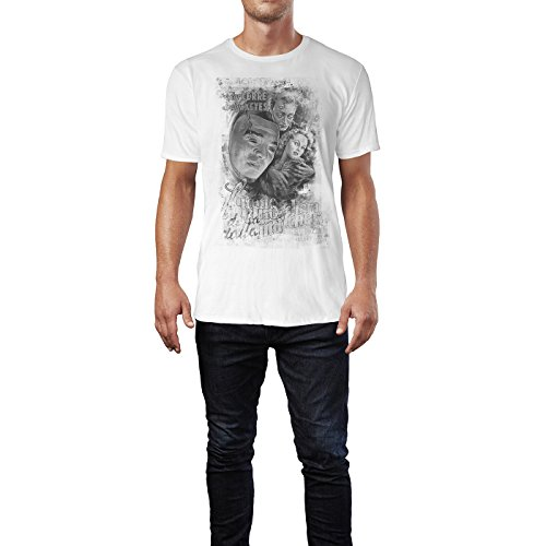 SINUS ART® The Face Behind the Mask Herren T-Shirts stilvolles weißes Fun Shirt mit tollen Aufdruck