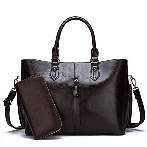 2 Bag body Donna Messenger 13 Hwx Pezzi Tracolla cm Tote Pu brown Borsa Elegante 33 Pelle handle Cross Set Top 25 Brown A fqxaqY6Z