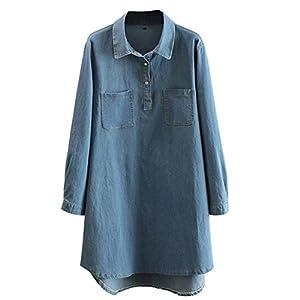 East Castle Women's Loose Tops Denim Shirt Blue Jeans Blouses W-086