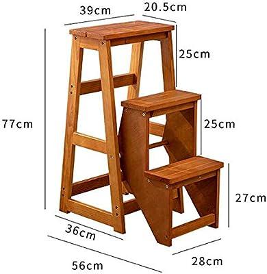 SMBYLL Escalera taburete de madera maciza silla de tres pasos escalera de interior multifunción hogar creativo escalera plegable silla de doble uso escalera taburete escaleras ascendentes Taburete esc: Amazon.es: Hogar