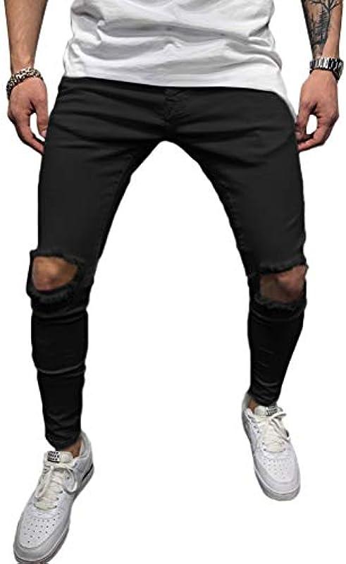 Onsoyours męskie spodnie destroyed Slim Fit Stretch spodnie jednokolorowe luźne Regular Fit spodnie długie spodnie do biegania spodnie plażowe Streetwear: Odzież