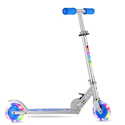 BELEEV V1 Folding Kick Scooter for Kids 2 Wheel Scooter for Girls Boys, CSPC&ASTM Safety Certified, 3 Adjustable Height, LED Light Up Wheels for Children 4 Years and up (Blue)