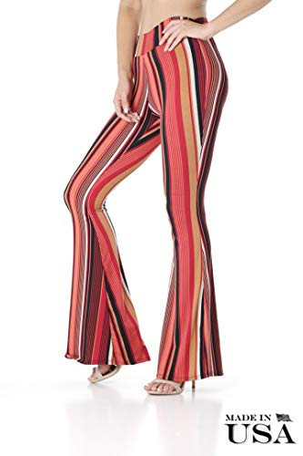 (BAYSYX - Flared Bell Bottom Fashion Print Women's Leggings | Yummy Soft Brushed Design (Red/Taupe Stripe, Small))