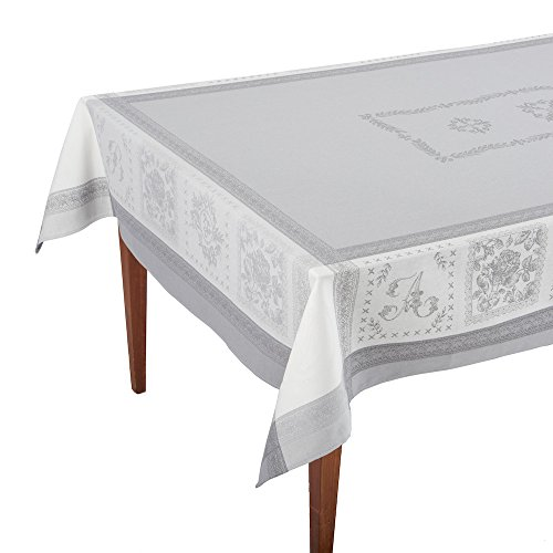 Monogramme Gris French Jacquard Tablecloth, 63 x 98 (6-8 people) by Occitan Imports
