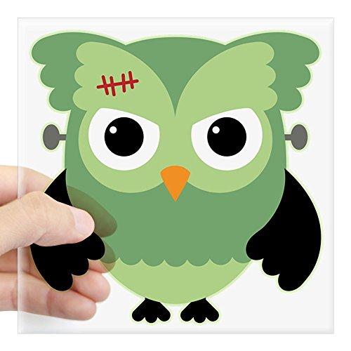 Square Sticker Clear 5 x 5 Inch Spooky Little Owl Frankenstein Monster]()