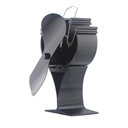 Ventilador de 2 aspas para estufa de leña, respetuoso con el medio ambiente, para la chimenea; 15-30 % de combustible, negro: Amazon.es: Bricolaje y ...