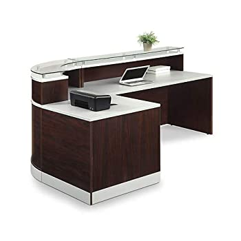 "Esquire Glass Top Reception Desk 79""W x 63""D 