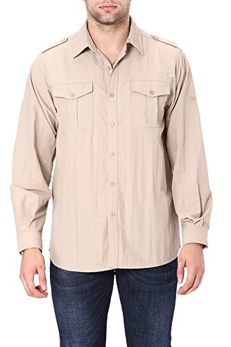 Men's Quick-Dry Nylon Breathable Insect-repellable Fishing Shirt Long Sleeve Large Khaki ()