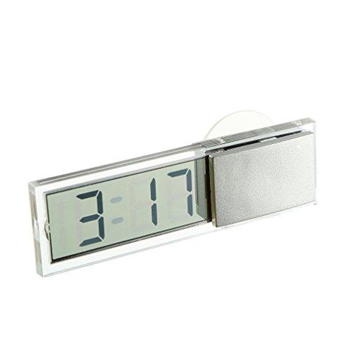 Electronic Clock Mini Durable Transparent LCD Display Digital with Sucker 2pcs/lot