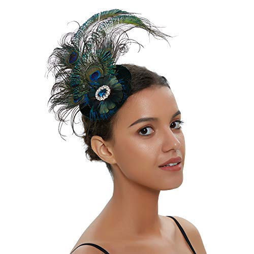Zivyes 1920s Peacock Headpiece Feather Costume Hair Clip Flapper Headpiece Hat Accessory (H)