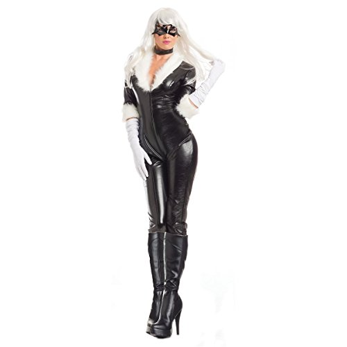 Be Wicked Women's Black Cat Body Suit Costume, White/Black, Medium-Large