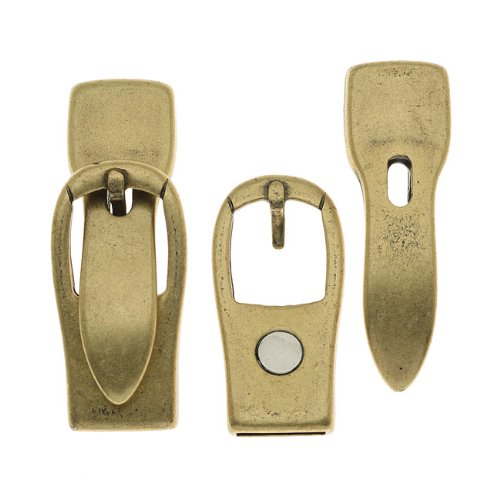 Antiqued Brass Plated Magnetic Buckle Clasp For Regaliz 10mm Flat Cork Cord - 1 Set
