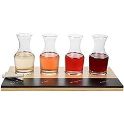 Wine Tasting Flight Sampler Set - 4-6oz Decanter Glasses w Paddle, Chalkboard and Chalk