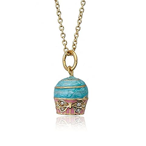 Little Miss Twin Stars Candyland 14k Gold-Plated Marbleized Light Blue Frosted Cupcake Pendant Necklace, Accented With Crystal Bow Ribbon Detail/ (Little Miss Twin Stars Necklace)