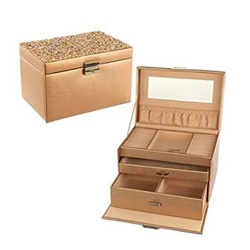 Caja de almacenaje rosa dorada con purpurina: Amazon.es: Salud y ...