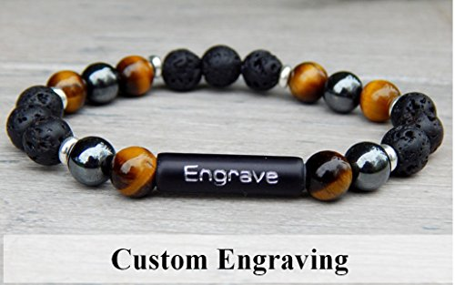 (Diffuser Bracelet - Mens Personalized Custom Jewelry - Beaded Tiger Eye, Lava and Hematite )