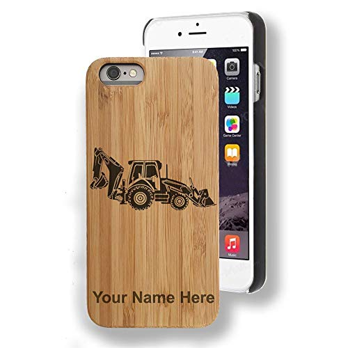 - Bamboo case Compatible with iPhone 7 Plus and iPhone 8 Plus, Backhoe Loader, Personalized Engraving Included