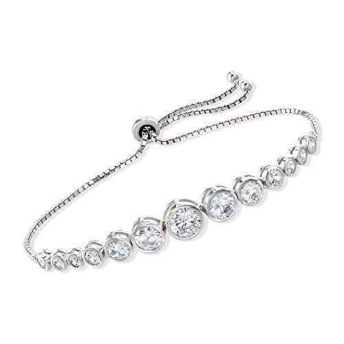 Ross-Simons 4.85 ct. t.w. Bezel-Set Graduated CZ Bolo Bracelet in Sterling Silver