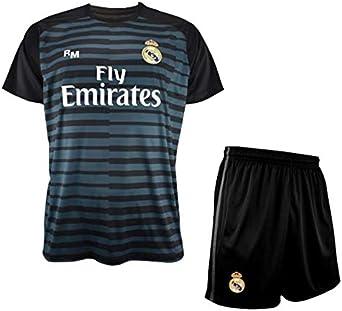 Conjunto de Camiseta y Pantalon de Portero Negro del Real Madrid 2018-2019 - Replica Oficial con Licencia - Niños Talla 8 años