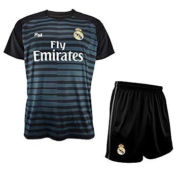 Conjunto de Camiseta y Pantalon de Portero Negro del Real Madrid 2018-2019 - Replica Oficial con Licencia - Niño Talla 14 años: Amazon.es: Deportes y aire ...