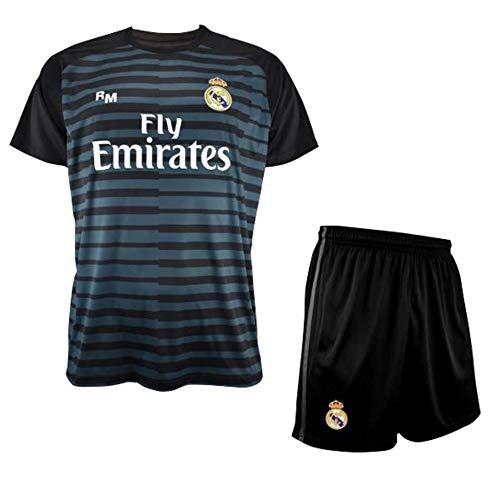 Replica Oficial con Licencia Ni/ños Talla 8 a/ños Conjunto de Camiseta y Pantalon de Portero Negro del Real Madrid 2018-2019