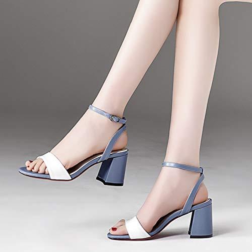 Tacón Palabra black 39 Pulgadas Sexy Alto Una Cuero 1 Mujeres Mujer Imitación Tacones 3 De Femenino Nuevo Verano Estilo Sandalias Para Con Blue Altos vqB15xnw