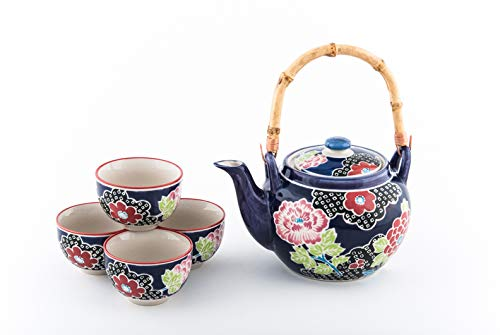 Hinomaru Collection Japanese Style Floral Design Tea Set Ceramic Teapot with Rattan Handle and 4 Tea Cups (Tsubaki)