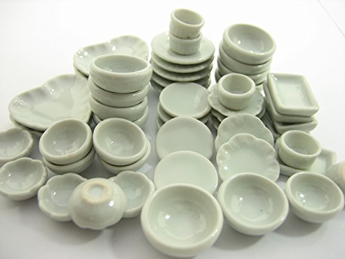 Set 50 Mixed White Ceramic Plate Dish Bowl Dollhouse Miniature Kitchen 13349 by Wonder Miniature