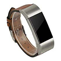 For Fitbit Charge 2 , Lucoo New Fashion Sports Luxury Leather Watch Band Strap For Fitbit Charge 2 (Brown)