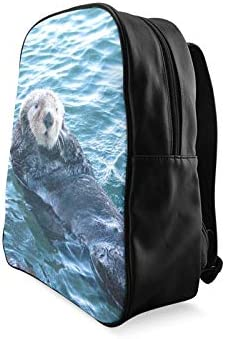 California Sea Otter In Morro Bay On The Central C Bags For School Ladies Fashion Bags Daypack For Women Print Zipper Students Unisex Adult Teens Gift