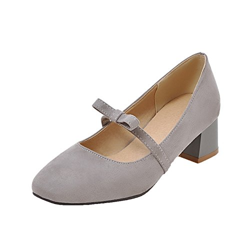 VogueZone009 Women's Frosted Closed-Toe Pull-On Kitten-Heels Solid Pumps-Shoes Gray FX55XWn