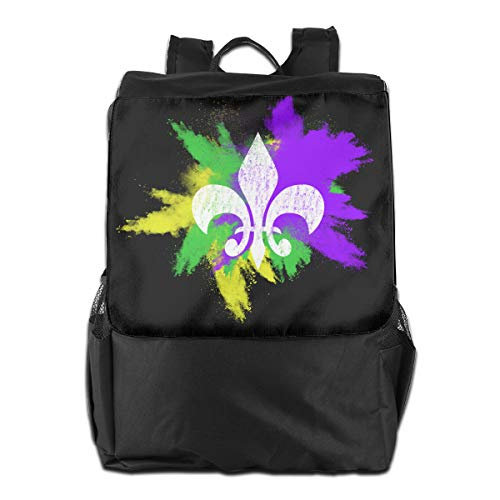Fleur De Lis Mardi Gras New Orleans Party Women Men Laptop Travel Backpack College School Bookbag Black