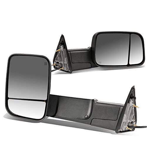 For 09-16 Dodge RAM Pair of Black Powered + Heated Glass + Foldable Side Towing Mirrors ()