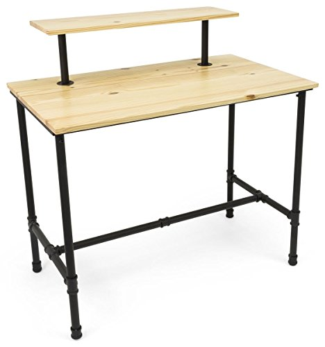 Displays2go, Large Pipe Display Table, Metal and Pine Wood Construction – Natural Finish, Black Hardware (PPLNNSTLRG) by Displays2go