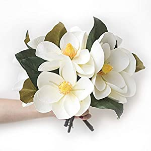 Ling's moment Pack of 6 Large Real Touch Artificial Magnolia Flowers Stems for DIY White Wedding Bouquets Centerpieces Arrangements Home Table Decor 1