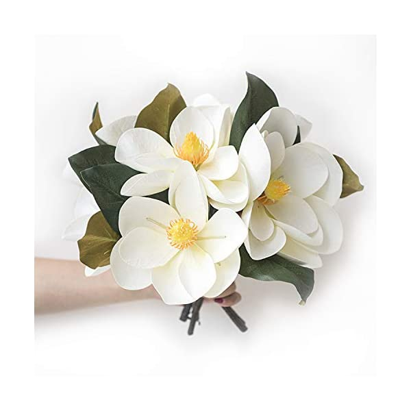 Lings Moment Pack Of 6 Large Real Touch Artificial Magnolia Flowers