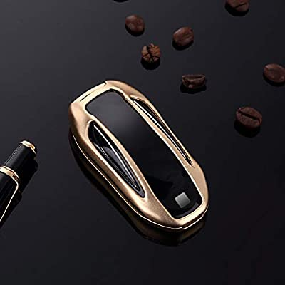 Royalfox(TM) Luxury Aluminum 3 Buttons Smart Remote Key Case Fob Cover for Tesla Model X,with Leather Key Strap (Gold)