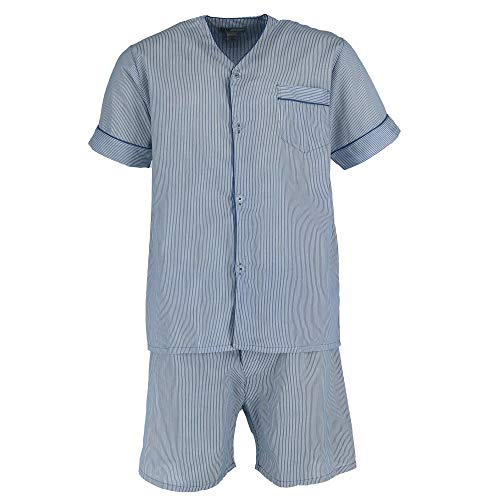 Ten West Apparel Men's Short Sleeve Short Leg Pajama Set, 2XL, Blue White Stripe