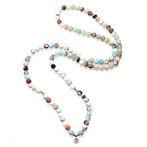Zhepin 8MM Amazonite 108 Mala Beads Charm Bracelet for Men Women Yoga Bracelet Necklace by Zhepin (Image #7)