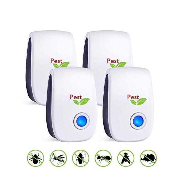 Antizanzare Ultrasuoni, 4 Pack Repellente ad Ultrasuoni Antizanzare Dispositivi Anti Zanzare Insetti Ragni Topi Mosche… 1 spesavip