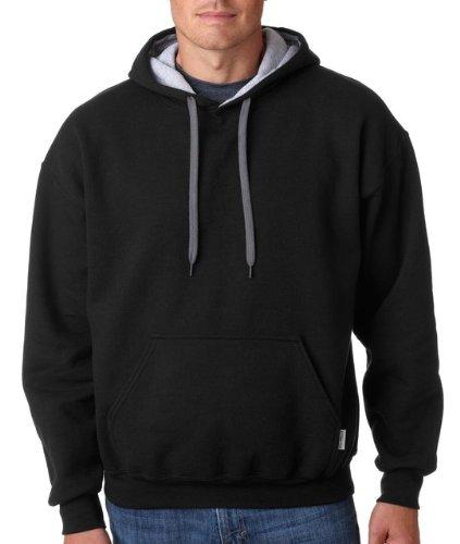 Adult Heavy Blend Contrast Hooded Sweatshirt (Black/ Sport Grey) (Heavy Hooded Top)