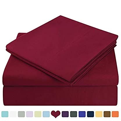 HOMEIDEAS-3-Piece-Bed-Sheet-Set-Twin-Burgundy-100-Brushed-Microfiber-1800-Bedding-Sheets-Deep-Pockets-Hypoallergenic-Wrinkle-Fade-Resistant