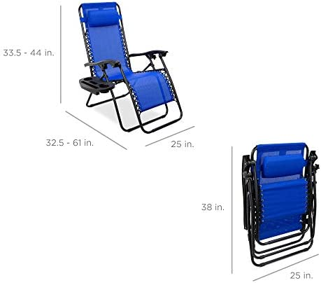 Best Choice Products Set of two Adjustable Steel Mesh Zero Gravity Lounge Chair Recliners w/Pillows and Cup Holder Trays, Cobalt Blue