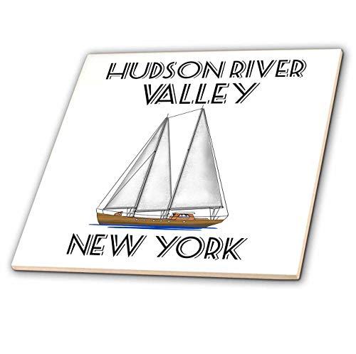 Hudson Valley Porcelain - 3dRose Macdonald Creative Studios - Nautical - Sailing Hudson River Valley New York Nautical Sailboat Design. - 8 Inch Glass Tile (ct_299226_7)