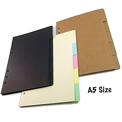A5 Size [Large] Dividers with Tabs Cardstock Dashboards for 6 Ring Planners Organizers Agendas - Vertical Tabs (Black)