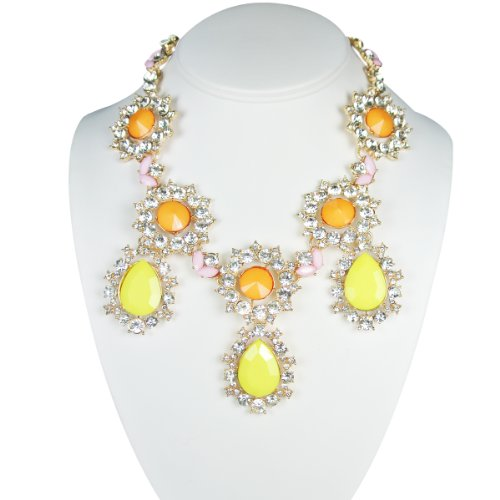 Wrapables Multi-Color Sunflower Teardrop Crystal Statement Necklace, Yellow