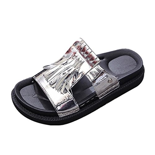 Elevin (tm) Donne Estate Moda Peep-toe Frangia Nappa Piattaforma Piatta Infradito Pantofole Sandalo Scarpe Argento