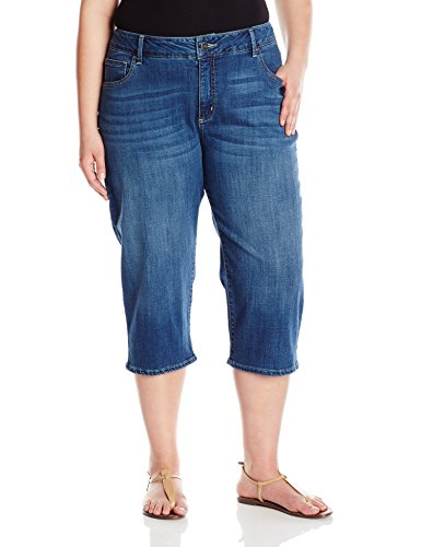 (Riders by Lee Indigo Women's Plus Size Ultra Soft Denim Capri, Blue Aster, 24 W)