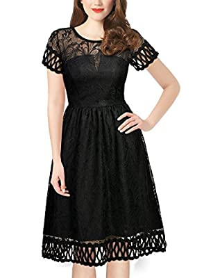 Miusol Women's Retro 1920'S Flare Lace Evening Party Swing Dress